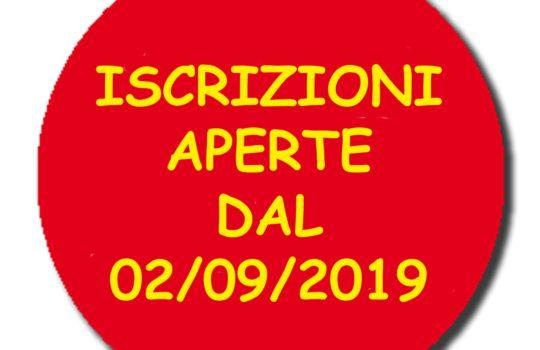 ISCRIZIONI DAL 02 SETTEMBRE 2019