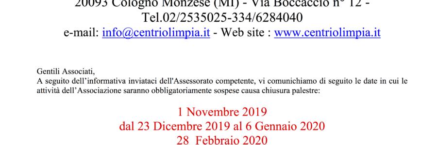 Chiusura palestre A.S.2019/20