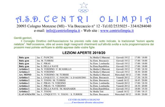 LEZIONI APERTE A.S.2019/20